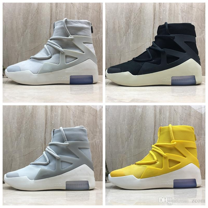 b27c9ef0eb7e 2019 Fear Of God 1 New Designer Boots Light Bone Black Sail Basketball Shoes  Sneakers Mens Trainers Authentic Sports Zapatillas With Box Shoe Shops  Cheap ...