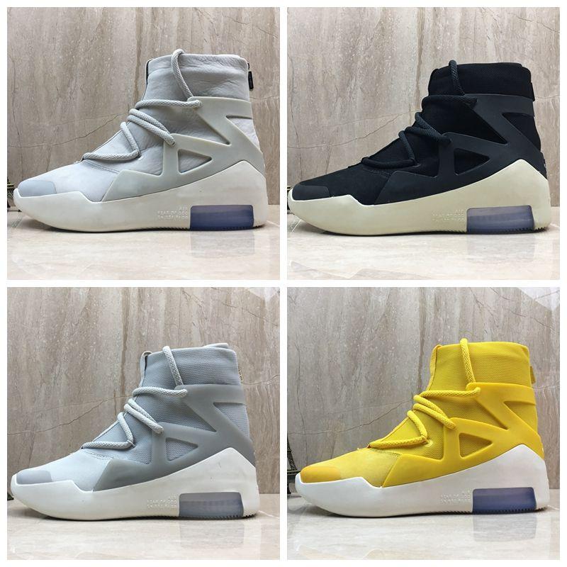 meet b5b24 610c5 Compre Nike Air Temor De Dios 1 Nuevo Diseñador Botas Luz La Vela Negra  Basketball Shoes Zapatillas Mens Trainers Authentic Sports Zapatillas Con  Caja A ...