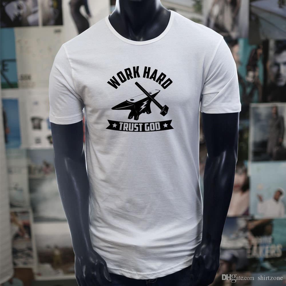 b0881cc0e4 Trust God Work Hard Metal Works Blacksmith Hammer Men White Extended Long  Tshirt T Shirt Men's Summer Custom Short Sleeve Valentine's Big Si