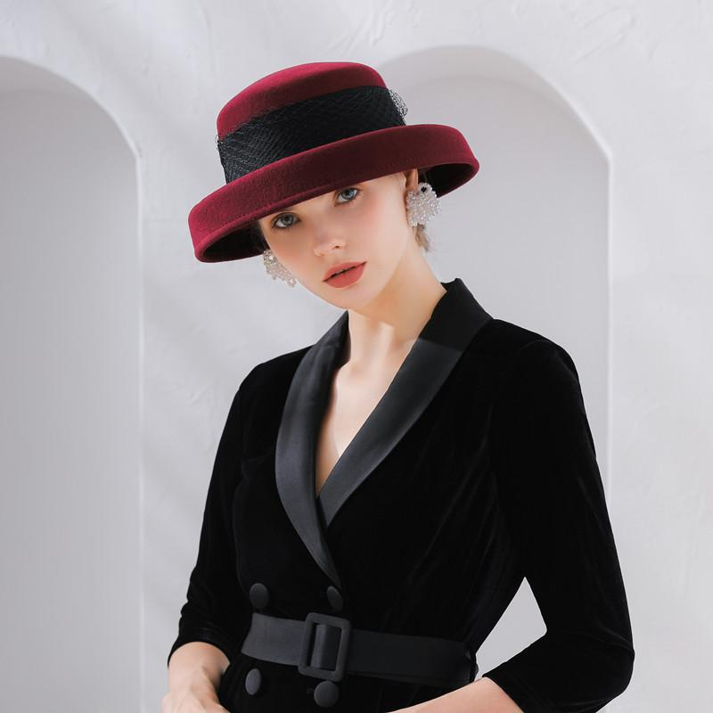 6acbfd8ec76 2019 Fashion Vintage Women Fedora Hat Flower Autumn Winter Keep Warm Bucket  Cap Elegant Ladies Bowler Hats From Shukui