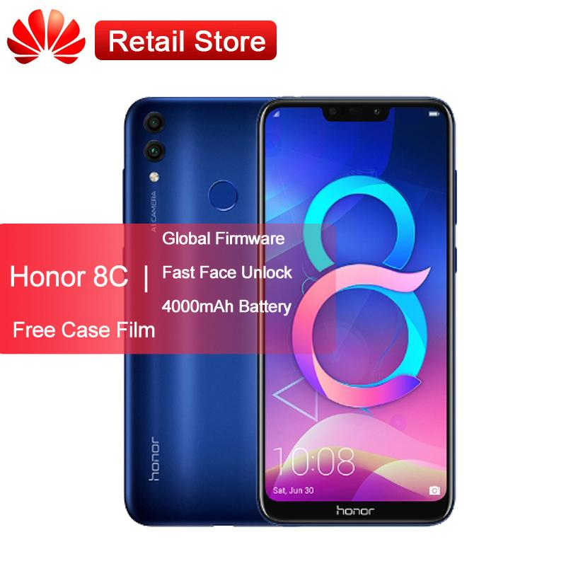 "Global Firmware Huawei Honor 8C 4G 4000mAh Smartphone 6.26"" Snapdragon 632 Octa Core Android 8.1 Dual Camera Face ID 4GB 32GB"