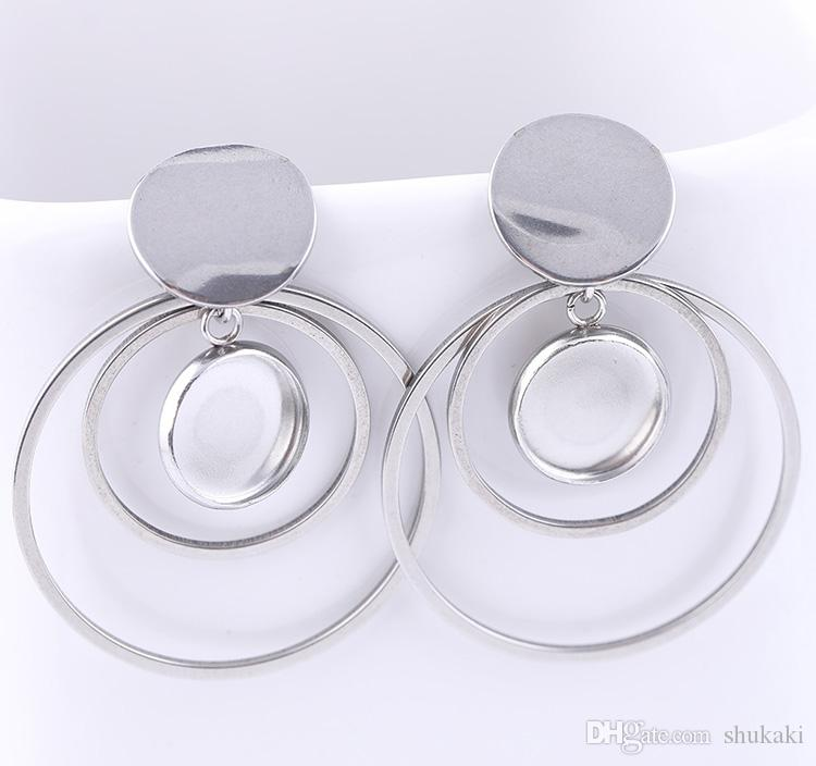 Shukaki Stainless Steel Earrings Posts Findings 10mm Round Cabochon Earring Base Setting Blanks Diy Bezels With Hoop Charms