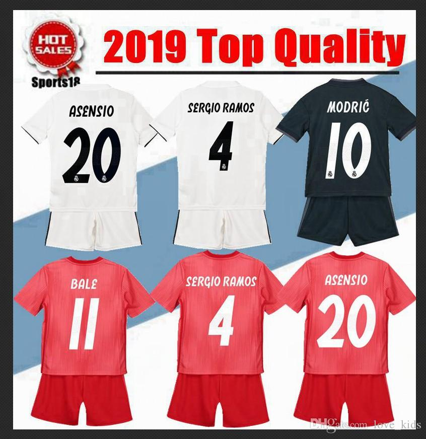 innovative design 0a390 88c53 2019 Kids Kit Real Madrid Soccer Jerseys 2020 Home White Away third 3RD 4TH  Boy Child Youth Modric ISCO BALE KROOS Football Shirts