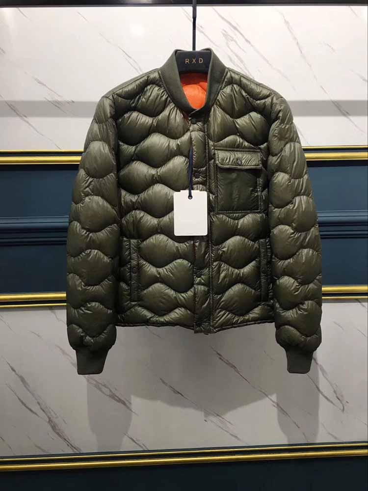 Fashion clothes High quality Men's down jacket Green wavy quilted White goose down Men's Down Parkas