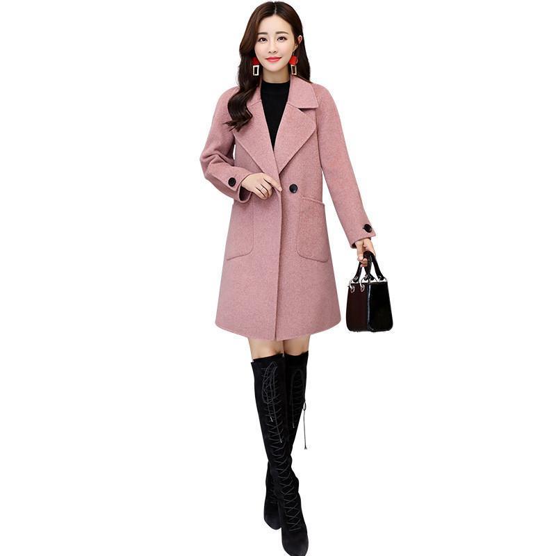 cd030e128dbb Women 2019 Autumn Winter Casual Slim Wool Jacket Coats Female Solid ...