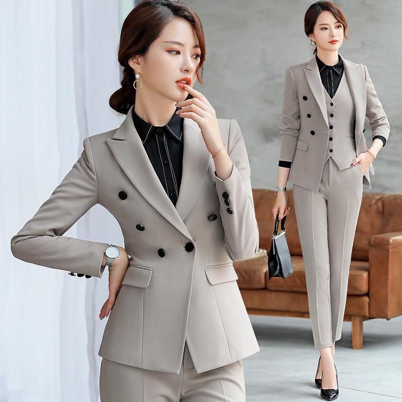 97b5549c0514 Профессиональная одежда костюм сплошной цвет повседневная блейзер брюки из  двух ...