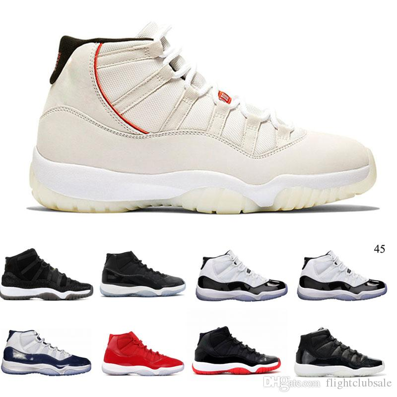 83d811d3864 11 Platinum Tint Cap And Gown Gym Red Black Stingray OVO Midnight Navy Bred  Shoes 11s Mens Womens Kids Basketball Sneaker Drop Ship Basketball Shoes Men  ...