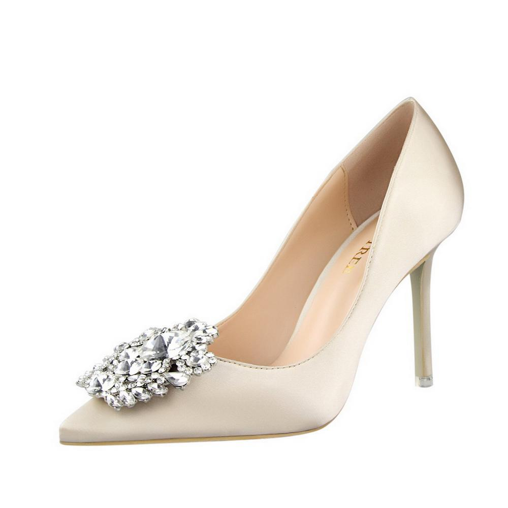 b9ab8cc1dc57 Ladies Heels New 2019 Spring Autumn Pointed Sexy Shoes Woman Fine Heel 10  Cm Fashion Elegant White Rhinestone Silk Wedding Shoes Boots Shoes White  Mountain ...