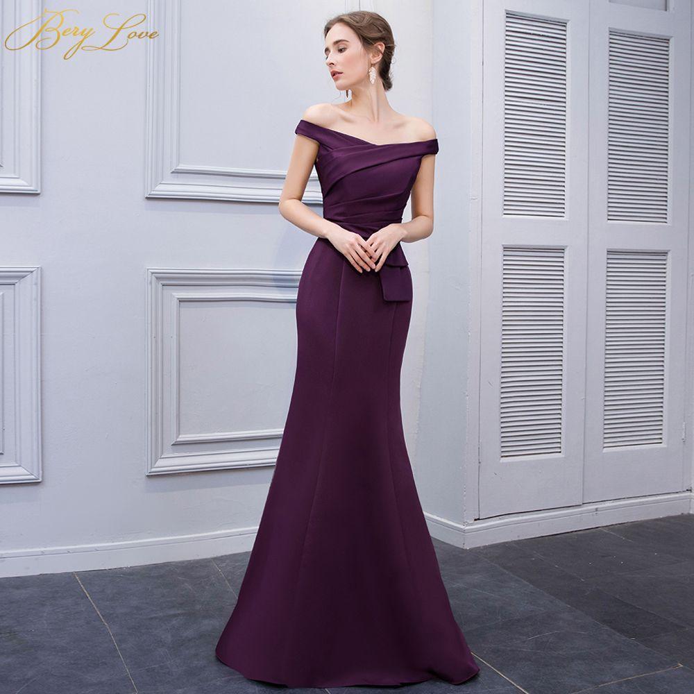 dab5ef56ed8fe Simple Mermaid Purple Satin Evening Dresses 2019 Long Off Shoulder Evening  Gowns Formal Evening Dress Prom Dress Abendkleider Y19042701