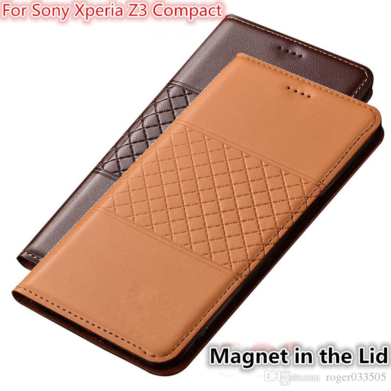 low priced ad4da 9c44e QX01 Genuine Leather Phone Case With Card Holder For Sony Xperia Z3 Compact  Case For Sony Xperia Z3 Compact Flip Case