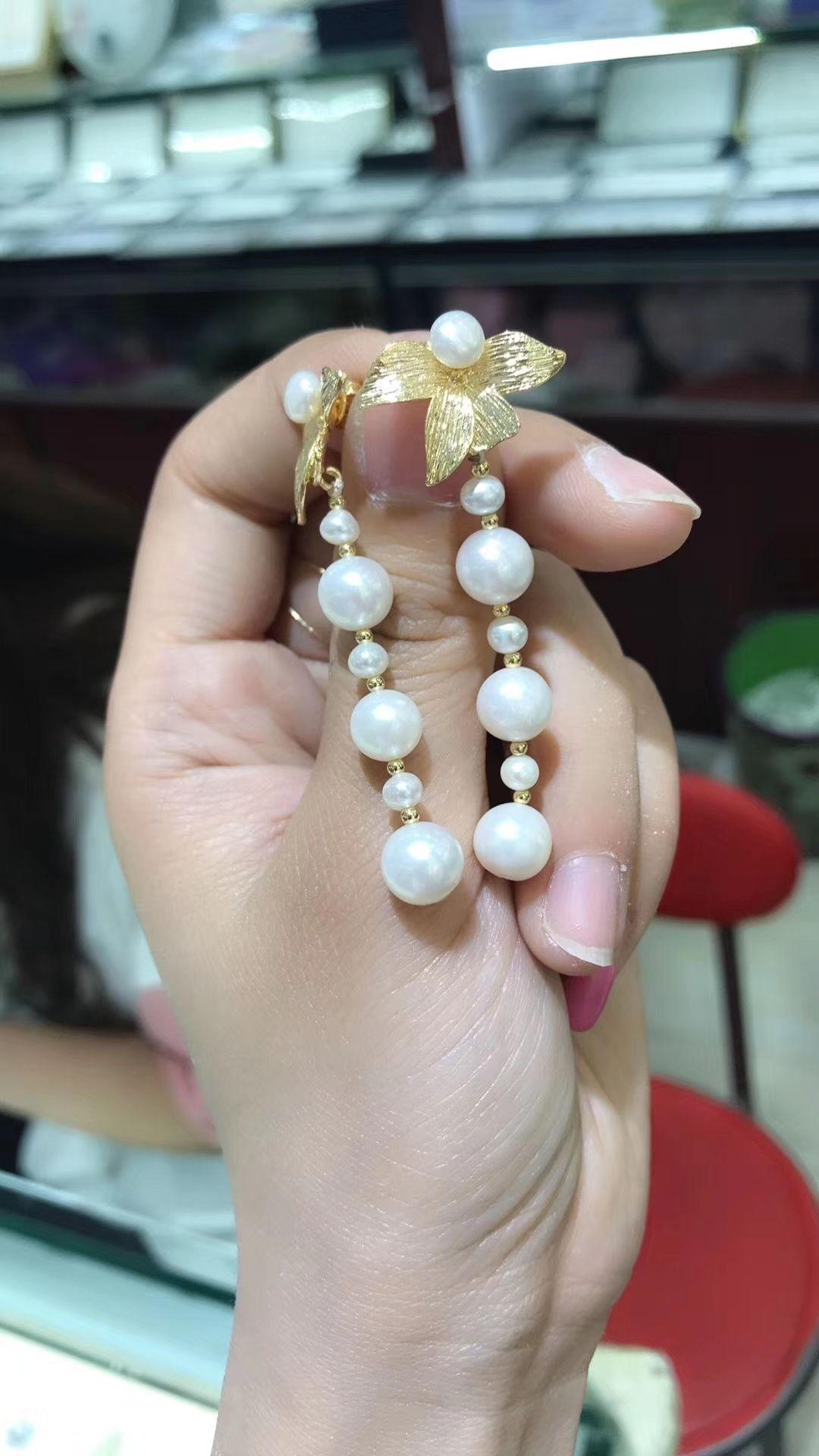 33ea8d748417 Compre Pendientes Largos Hechos A Mano Con Perlas Naturales De 7 Mm ...
