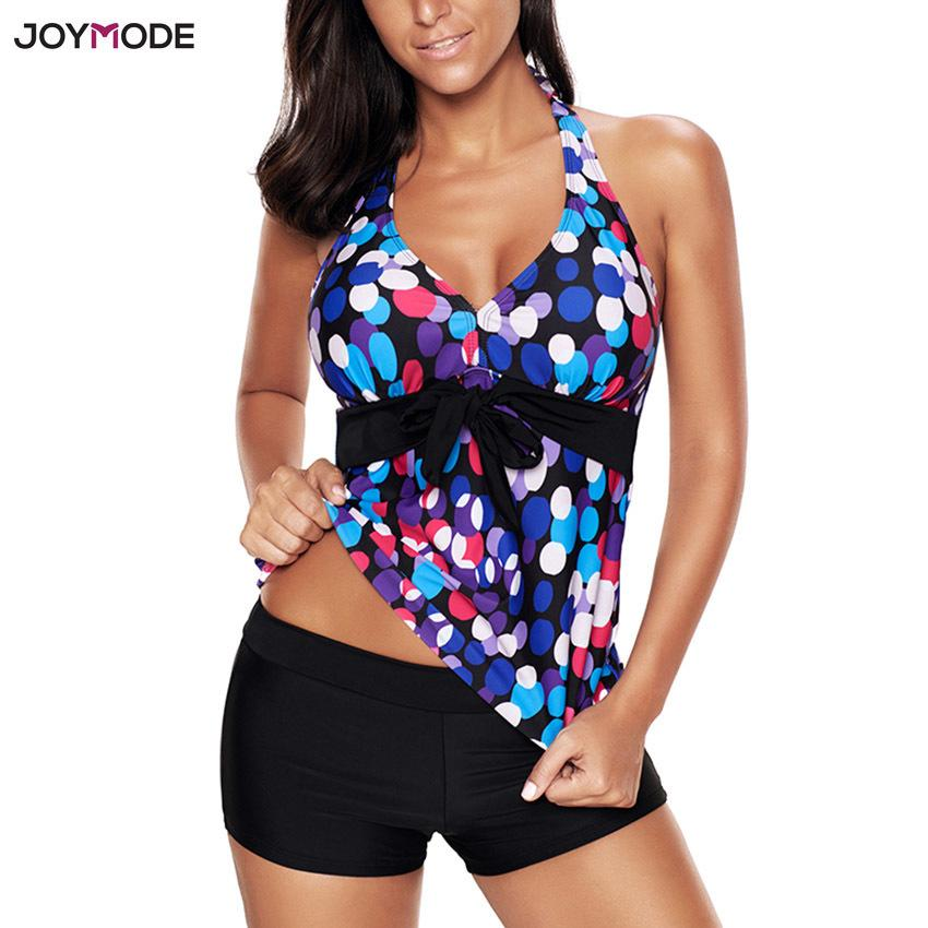 99b12942a3549 2019 Joymode Swimsuit Bikinis Set Tankini With Shorts Halter Fat ...