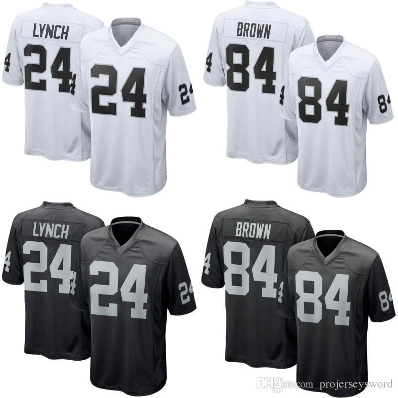 timeless design 3e776 719de #84 Antonio Brown Raiders Jersey 24 Marshawn Lynch Game Mens Womens Youth  Football Jerseys Cheap Wholesale White Black S-4XL