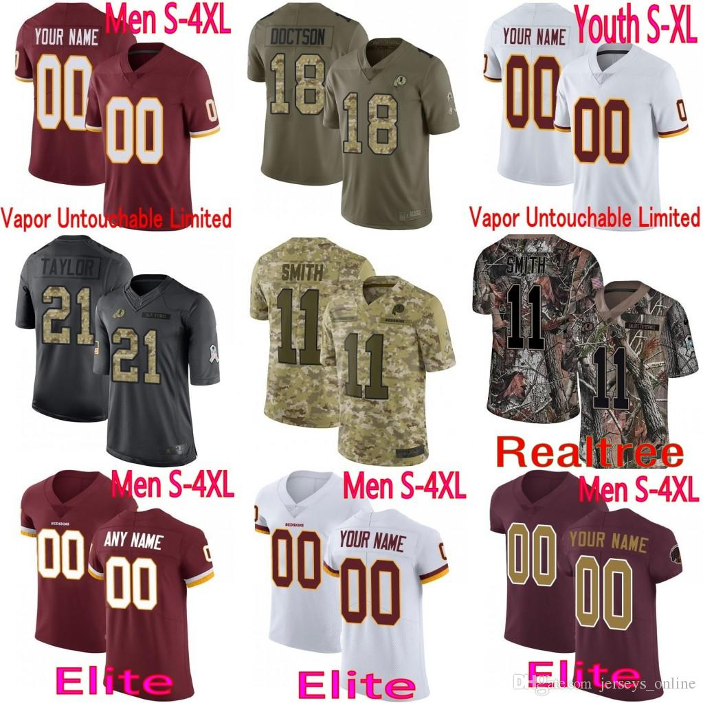 3676e9bc Peterson Mens Women Washington Derrius Guice Alex Smith Sean Taylor John  Peterson Redskins vapor Elite Camo Salute to Service Limited Jersey