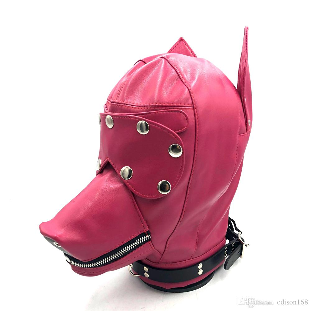 Hot Sex Product Soft Leather Bondage Dog Head Hood Headgear Face Mask Detachable Eyepatch Adult Slave BDSM Bed Games Flirting Toy 4 Color 11
