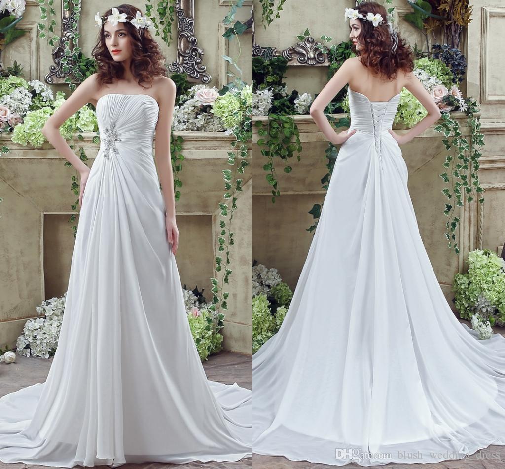 437583781 Compre Elegante Una Línea De Vestidos Blancos Con Volantes Cariño Gasa  Larga Boda Vestidos De Novia Para Las Mujeres Vestidos De Novia Vestidos A   95.48 Del ...