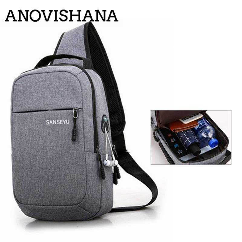 ANOVISHANA New Canvas Chest Pack Men Travel Sling Large Capacity Handbag Hot Sell Crossbody Bags for Ipad Bolsa Headphone Hole
