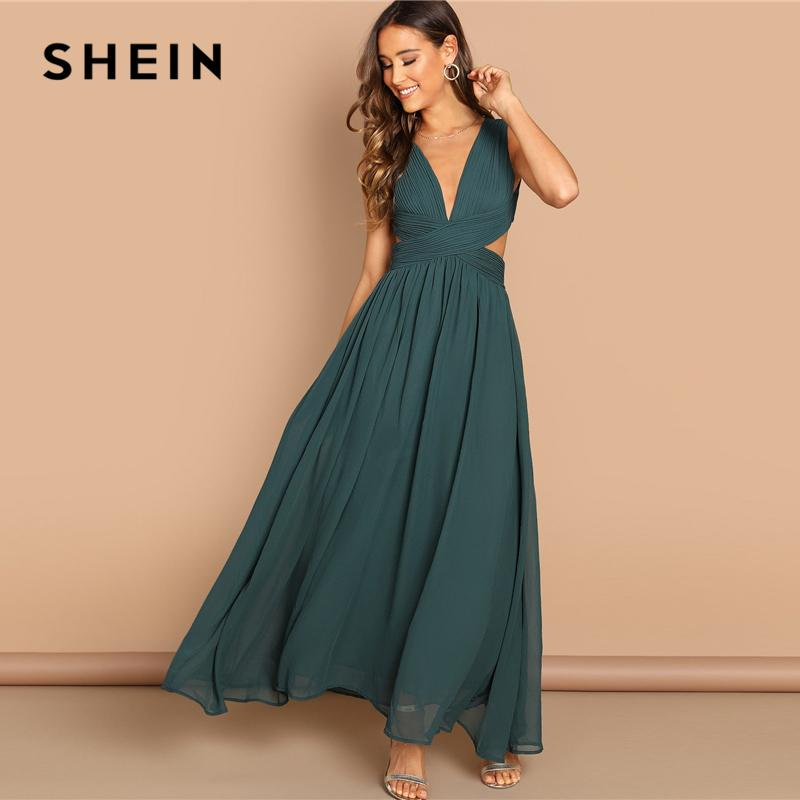 9352a35325 Shein Green Plunge Neck Crisscross Waist Ball Dress Elegant Plain Fit And  Flare Dress Women Autumn Modern Lady Party Dresses Y190425 Red And Black  Party ...