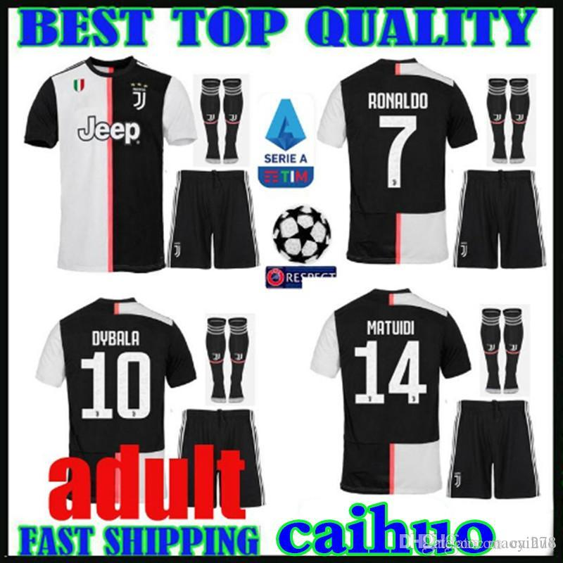 online retailer d72dd f6714 adult kit 19 20 Juventus soccer jerseys RONALDO DYBALA 2019 2020 new Serie  A Logo home MANDZUKIC Bonucci MATUIDI PJANIC JUVE Football shirts