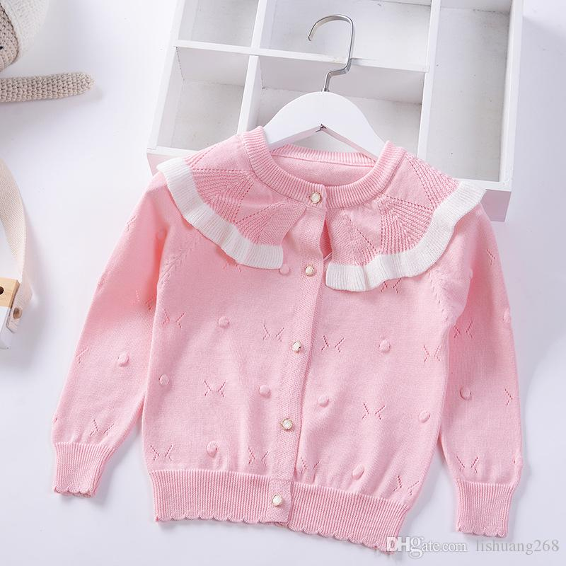 3d42fbda8 2019 Spring Summer Girls Sweater Hollow Ruffle Knitted Cardigan Autumn  Children Cotton Baby Princess Coat Kids Clothes Jacket Free Knitting  Patterns For ...