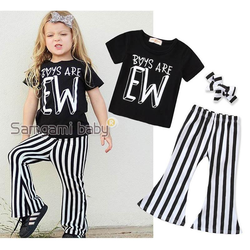 8fc8c4195d36 Ins new Summer Girls Outfits kids sets short sleeve T shirt+bows designer  headband+ Flared trousers Girl Suit kids designer clothes A4248