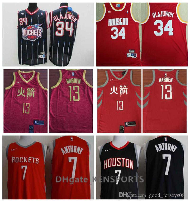 new product fe143 437b0 Newest 2019 Houston Basketball Rockets City Edition Jersey 13 James Harden  7 Carmelo Anthony 34 Hakeem Olajuwon Stitched Basketball Jerseys