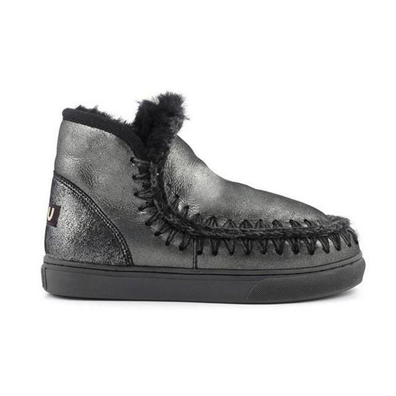 7691a9071ce 18 CM Women Mou Winter New Ladies Boots Leather Wool Integrated Warm ...