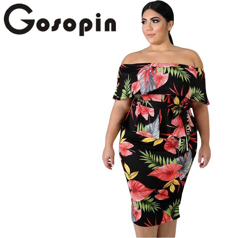 7e7374feec5 Gosopin Tropical Print Plus Size Dress Sexy Women Summer Dress Slash Neck  Party Night Bodycon Office Ladies 2019 LC611091 Evening Dresses On Sale  Dress For ...