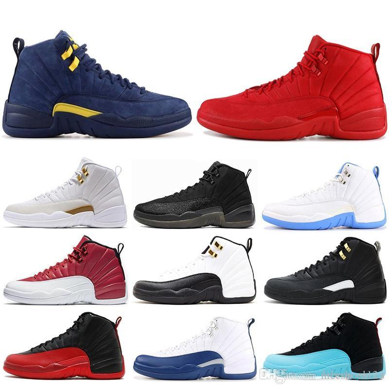 617787d6d456 Friday Gym Red New Mens Basketball Shoes 12 12s Michigan Navy Bulls Flu Game  UNC Taxi French Blue Sneaker Trainers Sports US7-13 Basketball Shoes 12 12s  ...