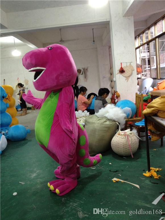Barney mascot costume Yellow Green Pink Dinosaur Birthday Party Halloween  Fancy Dress Adult Outfit Free Shipping