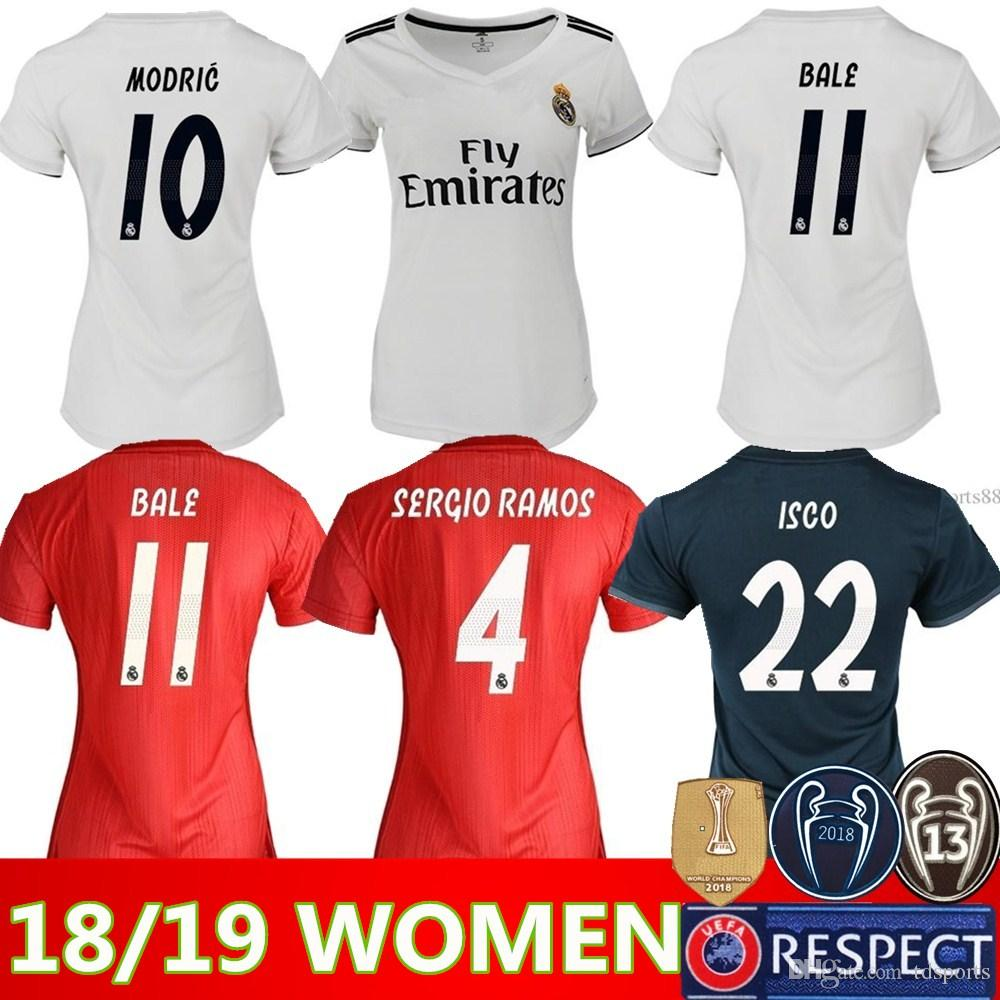 173cf8bf51d50 Mujeres ISCO Real Madrid En Casa Jerséis De Fútbol 18 19 Real Madrid Mujeres  Fuera Fútbol Camisetas 2019 Dama 3er Rojo Uniformes De Fútbol ASENSIO Niña  Por ...