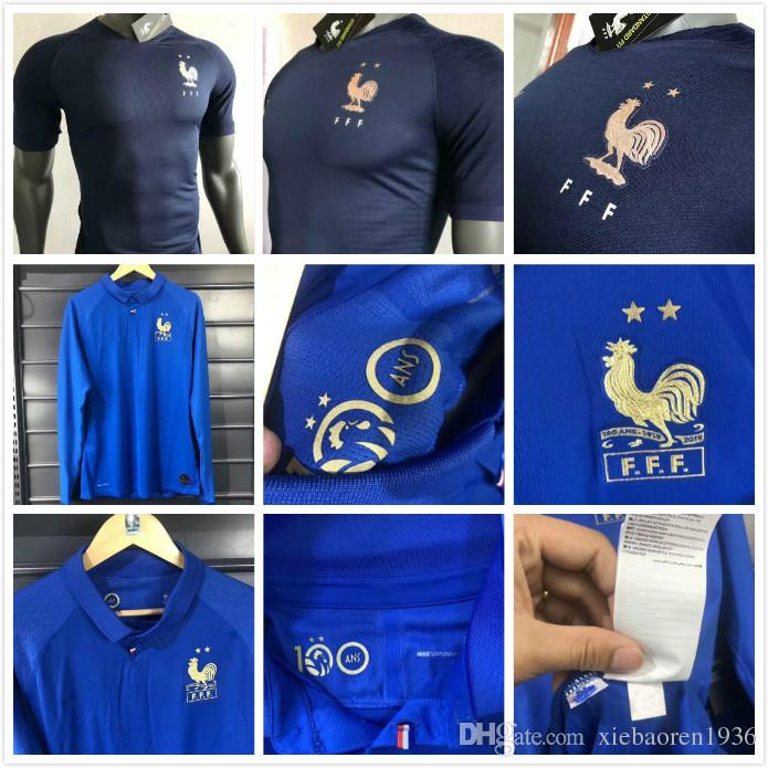 online retailer c021d a6ba1 Player Version France 100 years Soccer Jersey MBAPPE 100th centenary 2019  2020 GRIEZMANN KANTE 19 20 Long Sleeve Maillot football Shirt