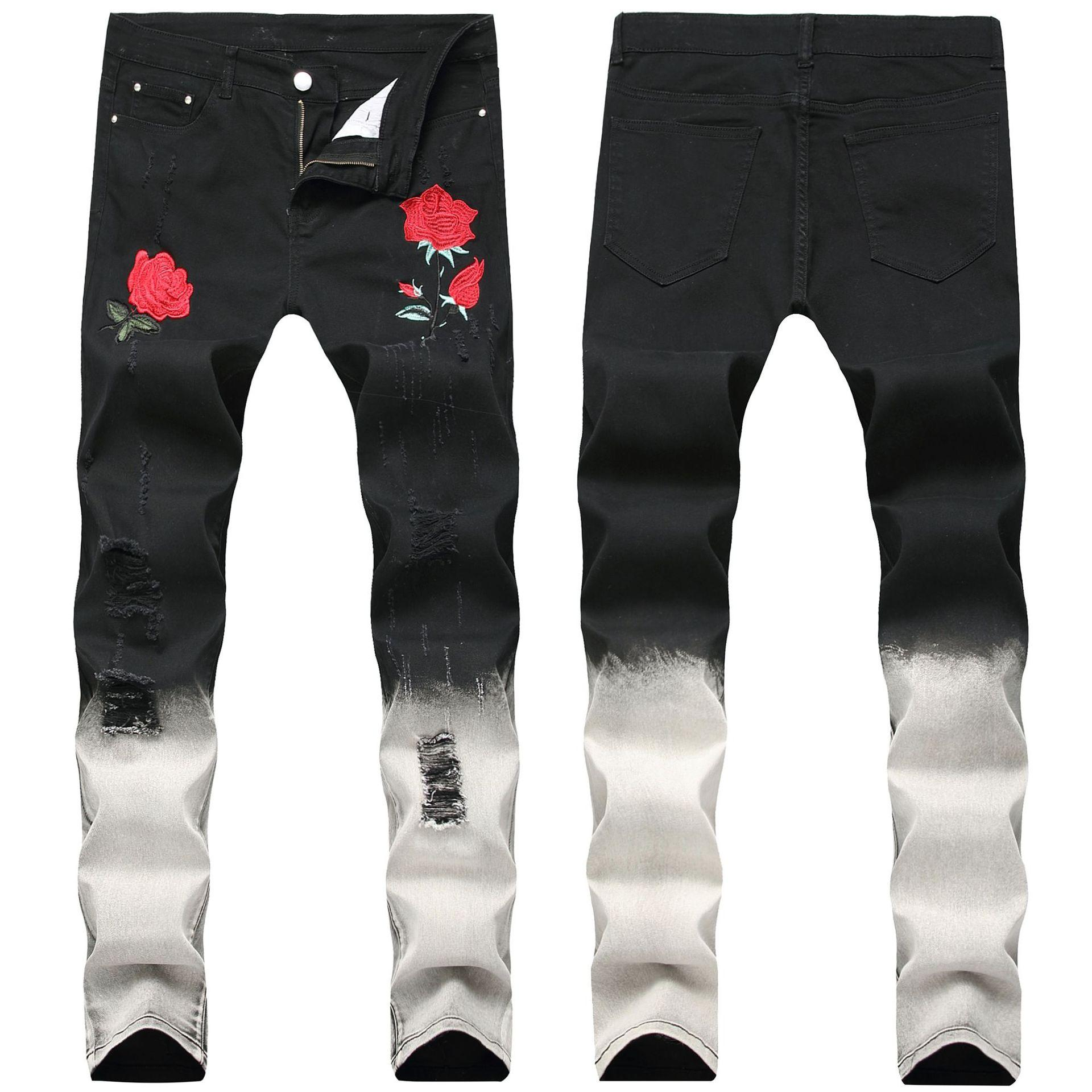 Ricamate Jeans Jeans Con Rose Rose Con Uomo VpSzMqU