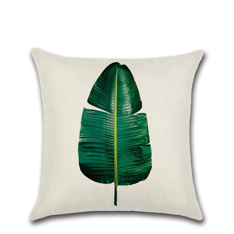 300pcs Hot Sale Tropical Plant Printed Cushion Cover Green Leaves Linen Pillow Case Chair Car Sofa Pillow Cover Home Decorative