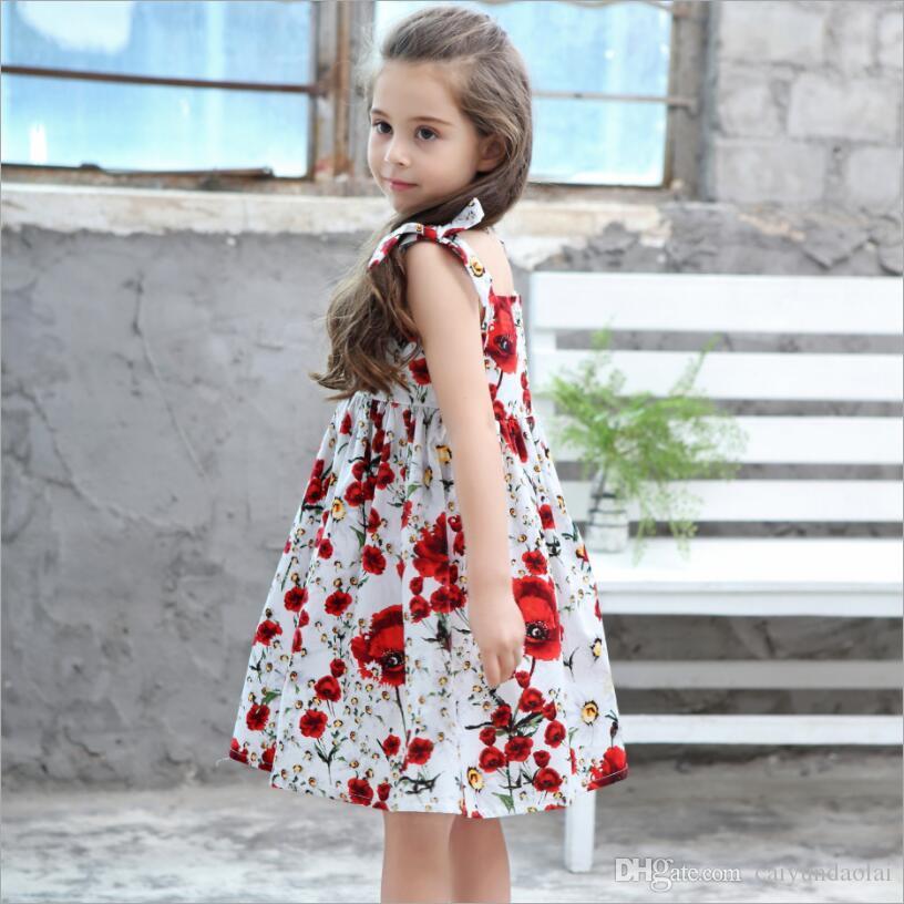 3689f8409de20 Acheter Style D'été Fille Robe Enfants Mode Sans Manches Floral Princesse  Robe Bébé Bébé Bowknot Coton Vêtements De $12.27 Du Caiyundaolai    DHgate.Com