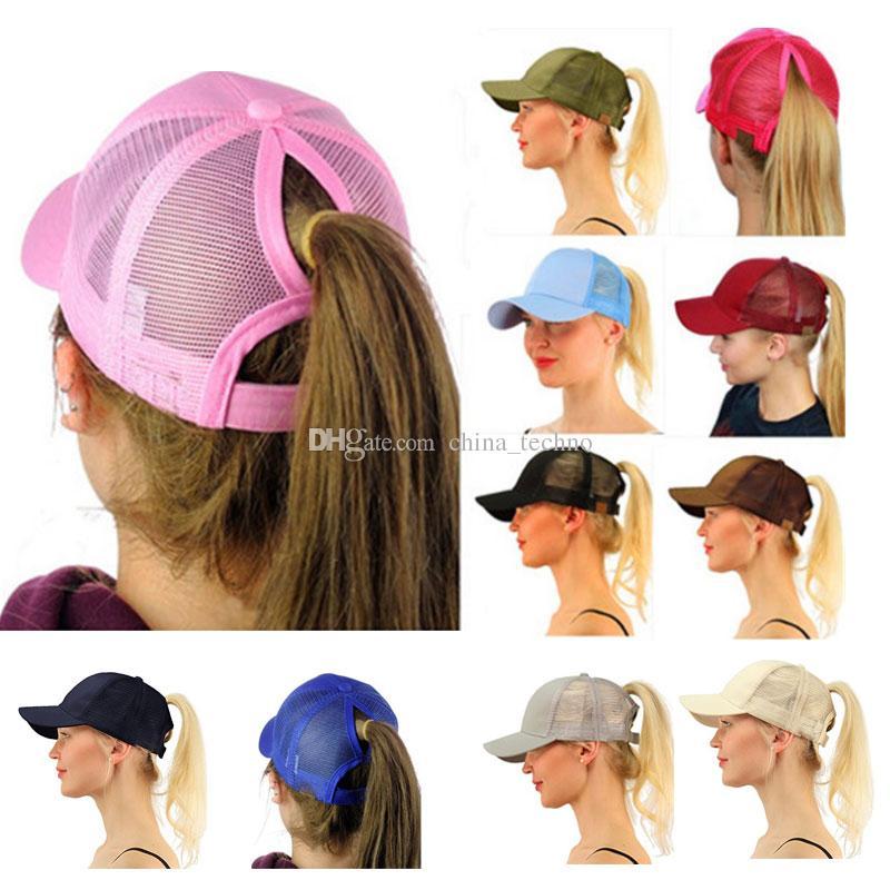 30b18b0be7b75 2019 Summer Ponycap Women Baseball Hats Caps Ponytail Snapbacks Messy Bun  Mesh Baseball Sport Cap Adjustable Sunhat From China techno