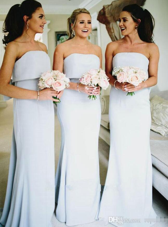 Sexy Backless Long Bridesmaid Dresses with Bow Strapless Sweep Train Chiffon Prom Party Dresses for Wedding Guests Party Gowns
