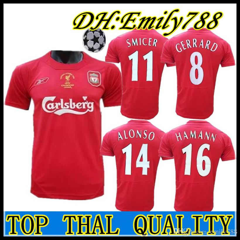 8b857faf39d 2019 04 05 Final Istanbul Retro Soccer Jersey 8 Gerrard Steven 2005 Smicer  Alonso Hamann Champion Football Shirts Vintage Calcio MAGLIA Maillot From  ...