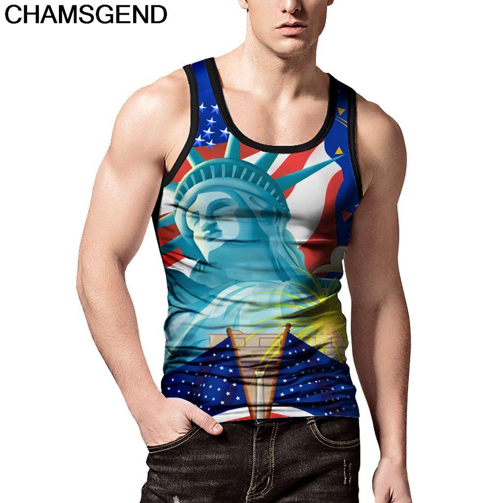 f042b65a5ba15 2019 CHAMSGEND Tank Tops Blue Statue Of Liberty Printing Slim Short ...