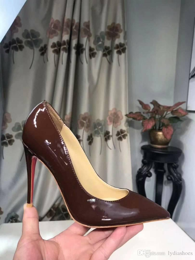 New 2019 ladies stiletto high heels brand patent leather women red bottom dress shoes evening shoes zapatos hombre size 35-42