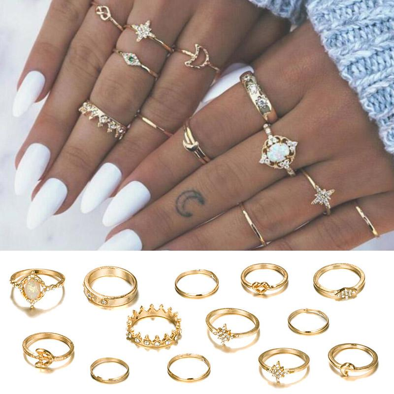 13462662ed8 Exquesite Opal Party Women Jewelry Accessories Finger Bohemian Gold Crown  Knuckle Ring Set 13PCS/Set Moon Crystal Star Vintage
