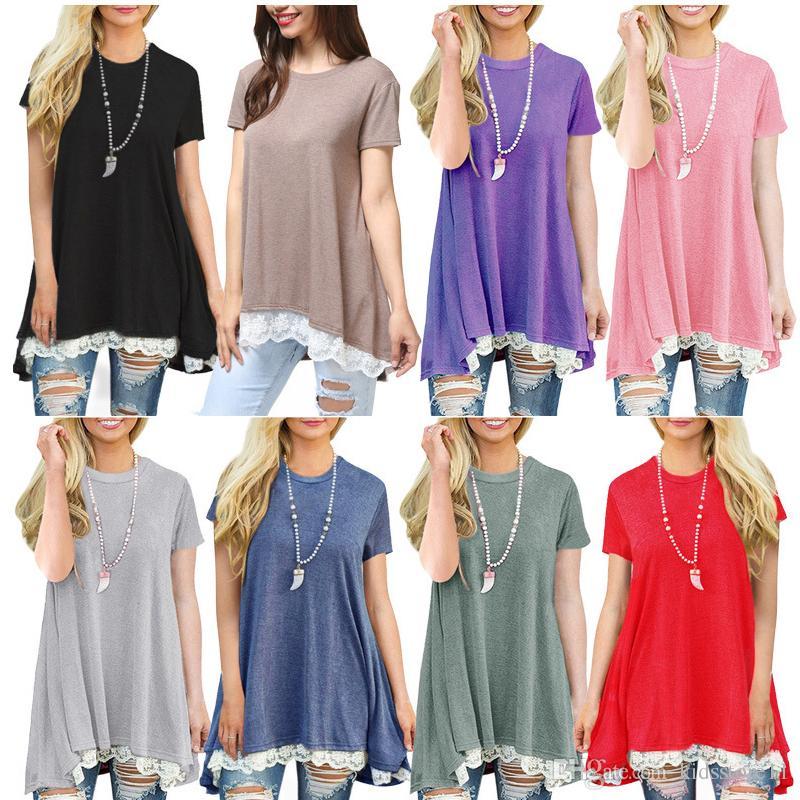 02b49d2a4e70d Satın Al Yeni Hamile Kıyafetleri 2019 Yeni Yaz Dantel T Shirt Hamile  Kadınlar Için Elbiseler Kısa Kollu Büyük Süpürme Artı Boyutu Toptan 11  Renkler, ...