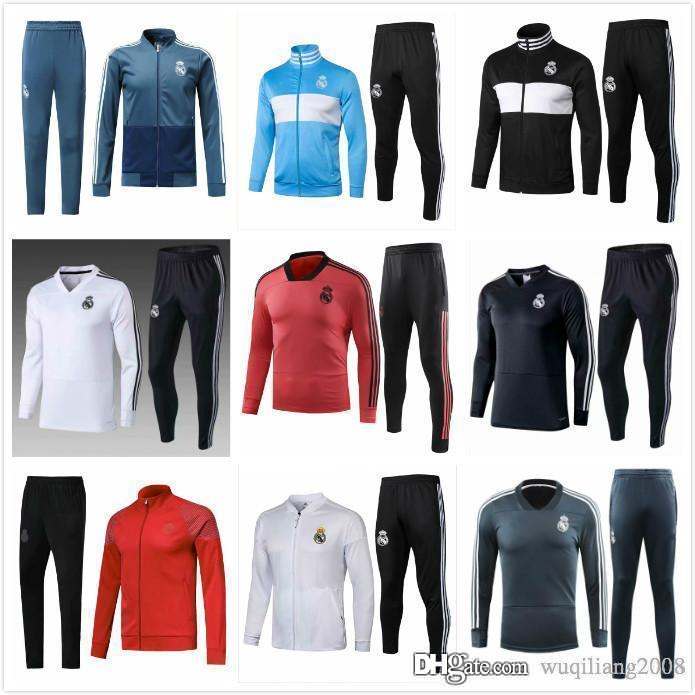 meet 221d3 23974 Real Madrid Long Sleeve Jacket Suit Kit Soccer Jersey red Training Uniform  2018 19 Real Madrid blue Football Suits Jacket Pants