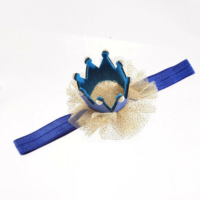 Fashion Neeborn Baby Girl Crown Headwear Kids Elastic Chiffon Patchwork Soft Headbands Gifts Tiara Party Hair Accessories