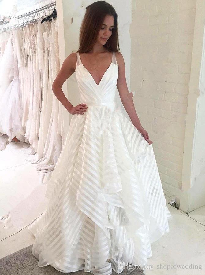 6ecfa42d7 Discount Bridal Wedding Dress Spring And Summer Wedding Dress Long Skirt  Ruffled A Line Skirt Deep V Neck Tulle Wedding Dress Store Wedding Dresses  Designer ...