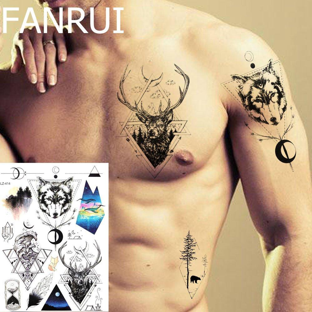 Temporary Tattoo Stickers Men Chest Deer Totem Water