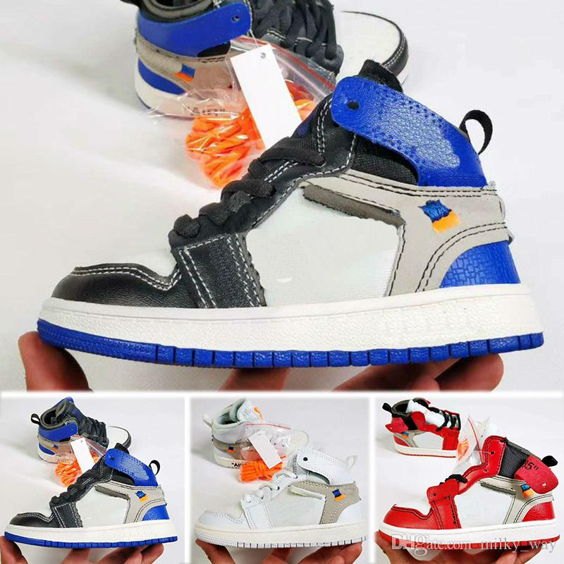 huge discount cccac 2c6c1 Acheter Nike Air Jordan 1 Retro PreSchool Conjointement Signé Haut OG 1s  Jeunes Enfants Chaussures De Basketball Chicago Nouveau Né Bébé Infant  Toddler ...