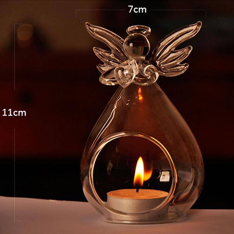 Hot Sale Fashion Creative Angel Glass Crystal Hanging Tea Light Candle Holder Home Room Party Decor Candlestick Storage Holders