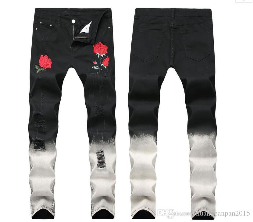 Black +white Ripped Jeans Men Flowers Rose Embroidered Men's Denim Jeans Stretch Skinny Hole Pants