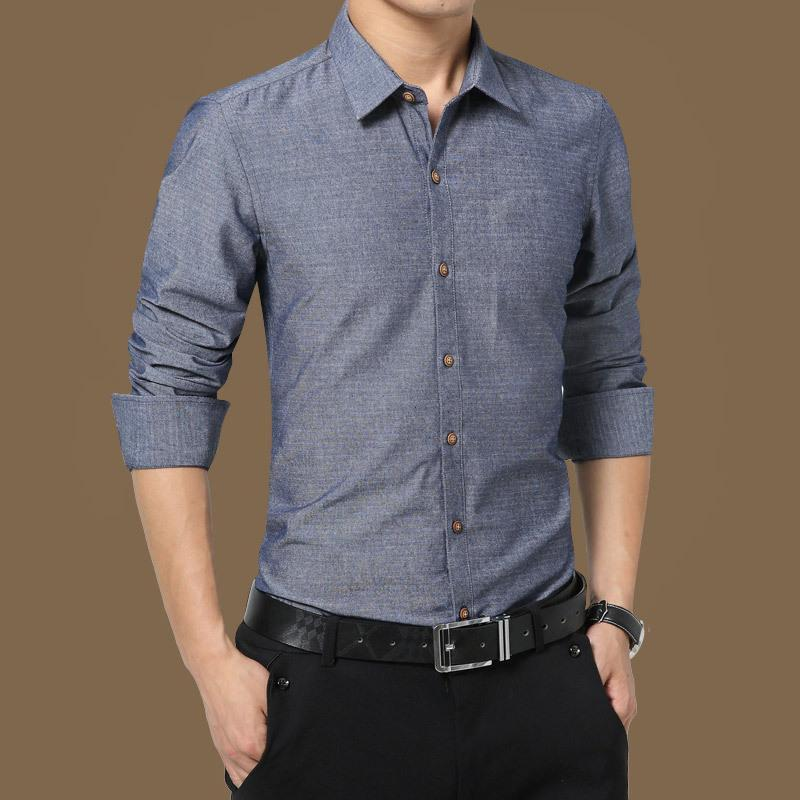 05f91f097bca Otoño Pop Hombres Sólido Azul Gris Caqui Rosa Camisa de Vestir Formal Moda  de manga larga de negocios Hombre Casual camisa Ropa
